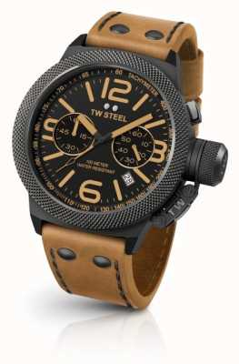 TW Steel Mens cantina negro dial cuero marrón claro CS43