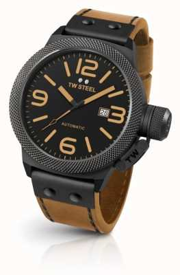 TW Steel Mens cantina luz marrón correa negro dial CS45