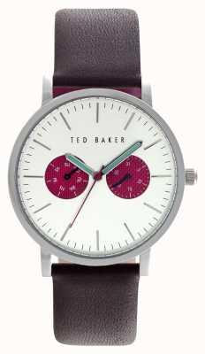 Ted Baker sub-esferas de color rojo reloj de plata de acero inoxidable de 40 mm para hombre TE10024788