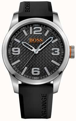 Hugo Boss Orange Mens parís esfera de color negro correa de caucho negro 1513350