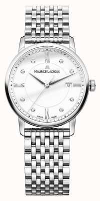 Maurice Lacroix contra el acero inoxidable Eliros reflejan con diamantes EL1094-SS002-150-1