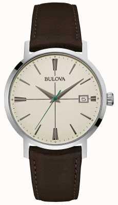 Bulova Para hombre de la correa de cuero marrón Aerojet 96B242