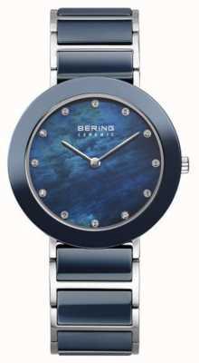 Bering línea azul marino de la correa de metal azul marino Womans 11435-787