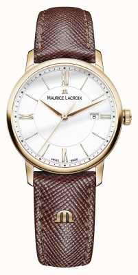 Maurice Lacroix Eliros para mujer de la correa de cuero marrón de línea blanca EL1094-PVP01-111-1