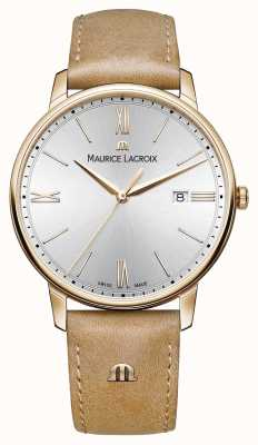 Maurice Lacroix Dial de plata para hombre de la correa de cuero de color marrón claro EL1118-PVP01-111-2