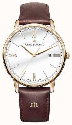 Maurice Lacroix Para hombre de la correa de cuero blanco redondo de línea marrón EL1118-PVP01-112-1