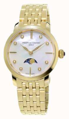 Frederique Constant Slimline para mujer Fase lunar conjunto de diamantes de oro amarillo plateado FC-206MPWD1S5B