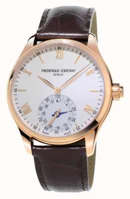 Frederique Constant rosa de cuero marrón SmartWatch relojera chapado de oro FC-285V5B4