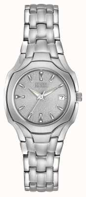 Citizen Acero inoxidable Ladies eco-drive con esfera de cristal mineral EW1250-54A
