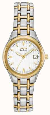 Citizen Ladies dos caja de acero inoxidable y pulsera tono EW1264-50A