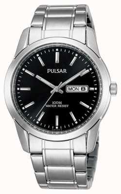 Pulsar El | hombres | dial de fecha de día negro | pulsera de acero inoxidable | PJ6021X1