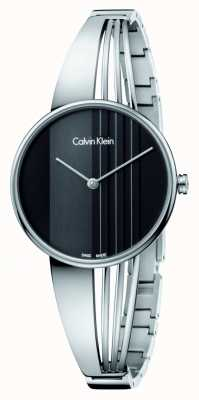 Calvin Klein Deriva del reloj con esfera de color negro K6S2N111