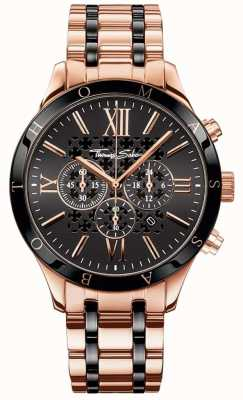Thomas Sabo Reloj de cronógrafo para hombre rebelde urbano color oro rosado WA0187-267-203-43