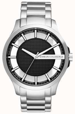 Armani Exchange Para hombre de rostro negro de acero inoxidable AX2179