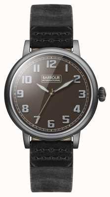 Barbour Hawkins reloj para hombre correa de cuero negro BB042BKBK
