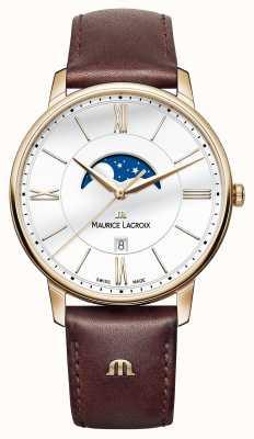 Maurice Lacroix Mens Eliros correa de cuero marrón fase lunar EL1108-PVP01-112-1
