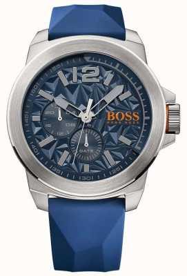 Hugo Boss Orange Mens esfera azul azul correa de caucho 1513348