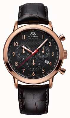 88 Rue du Rhone Para hombre de negro se levantó esfera de color negro reloj de oro 87WA120050
