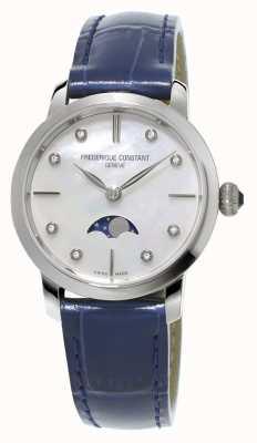 Frederique Constant de diamantes para mujer engorda fase lunar juego de correas de cuero azul FC-206MPWD1S6