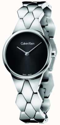 Calvin Klein esfera de color negro pulsera de acero inoxidable para mujer serpiente K6E23141