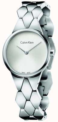 Calvin Klein acero inoxidable esfera de plata para mujer pulsera de la serpiente K6E23146