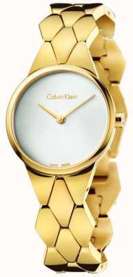 Calvin Klein Para mujer serpiente de oro PVD esfera de plata pulsera K6E23546