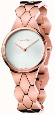 Calvin Klein Para mujer serpiente rosa PVD esfera de plata pulsera de oro K6E23646
