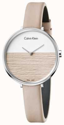 Calvin Klein Mujeres levantan esfera de color beige correa de cuero beige K7A231XH