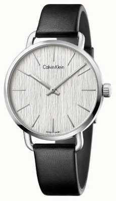 Calvin Klein Mujeres incluso esfera de plata correa de cuero negro K7B211C6