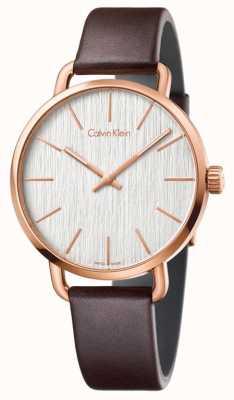 Calvin Klein Correa de cuero marrón para hombre incluso plateada K7B216G6