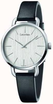 Calvin Klein Mujeres incluso esfera de plata correa de cuero negro K7B231C6