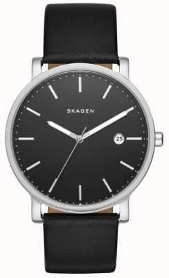 Skagen Mens Hagen cuero negro reloj de la correa SKW6294