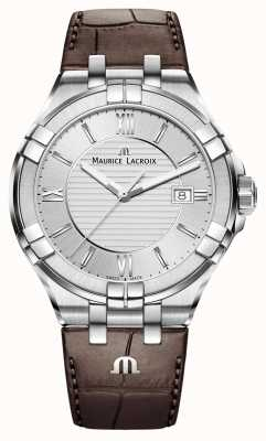 Maurice Lacroix Mens Aikon de cuero marrón reloj de plata de la correa AI1008-SS001-130-1
