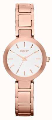DKNY Womans de línea rosa blanca correa de oro NY2400