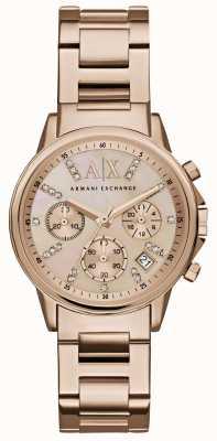 Armani Exchange La mujer se levantaron de línea de cronógrafo de oro rosa correa de metal de oro AX4326