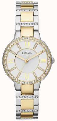 Fossil Correa de metal de dos tonos blanco mujer de cuero ES3503