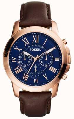 Fossil Hombres Marina cronómetro marque correa de cuero marrón FS5068
