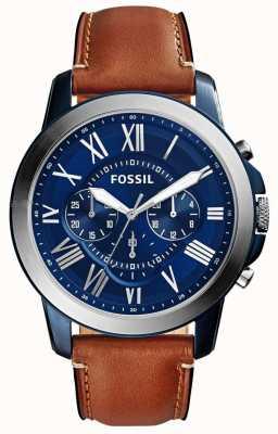 Fossil Relojes de esfera azul y correa de piel marrón FS5151