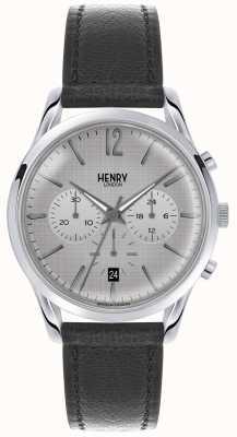Henry London Womans gris cronógrafo dial gris correa de cuero HL39-CS-0077