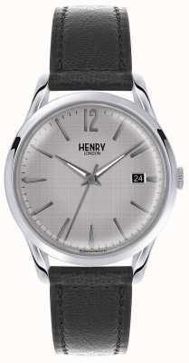 Henry London correa de cuero negro esfera de plata para hombre HL39-S-0075