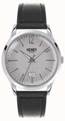 Henry London Correa de cuero negra para hombre con esfera gris HL41-JS-0081