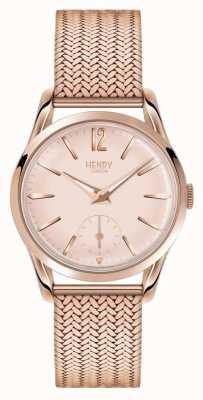 Henry London La mujer se levantaron esfera de oro chapado en oro rosa correa de malla HL30-UM-0164