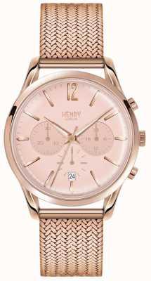 Henry London La mujer se levantaron de línea de cronógrafo de oro rosa bañados en oro de malla HL39-CM-0168