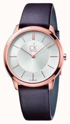 Calvin Klein Para hombre correa de cuero marrón mínimo K3M216G6