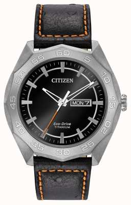 Citizen caja de titanio para hombre del dial negro correa de cuero negro AW0060-03E