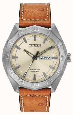Citizen caja de titanio para hombre de cuero marrón de línea correa de champán AW0060-11P