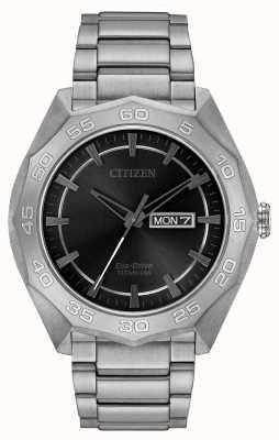 Citizen Ex-display mens titanium bracelet black dial AW0060-54H-EX-DISPLAY