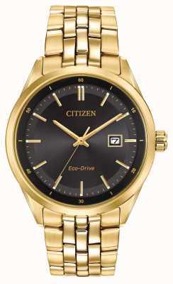 Citizen Mens PVD oro esfera de color negro pulsera plateada BM7252-51E