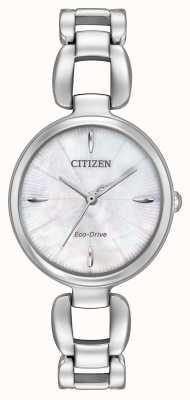 Citizen Para mujer madre brazalete de acero inoxidable de la línea de perlas EM0420-54D
