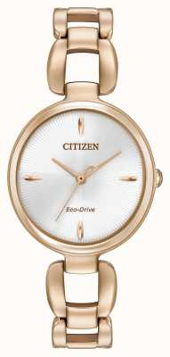 Citizen Mujeres pvd oro rosa pulsera plateada EM0423-56A